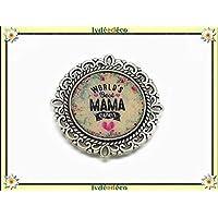 1 imán mundo mejor mamá corazón corazón flor azul rosa regalos personalizados Navidad madre cumpleaños ceremonia de boda invitados señora celebración día de la madre pareja