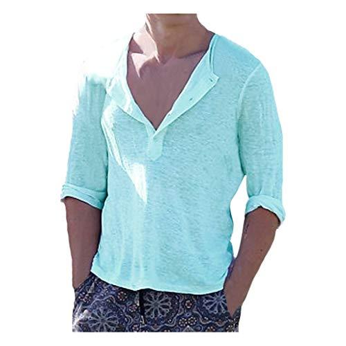 V-Ausschnitt T-Shirts Hemden Herren Sommer-Knopfleiste mit geschnittenes Leinen Kurzarmhemd Top Baumwollshirt Sweatshirt Bluse Tunika (Hellblau,M