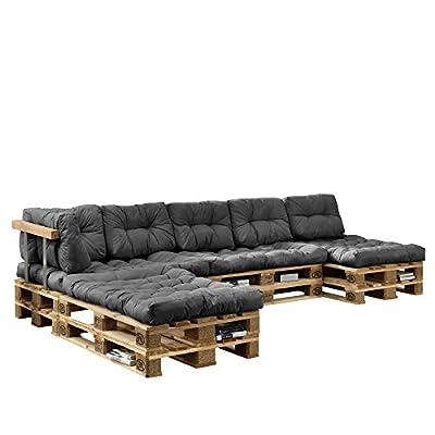 [en.casa] Euro Paletten-Sofa - DIY Möbel - Indoor Sofa mit Paletten-Kissen / Ideal für Wohnzimmer - Wintergarten (4 x Sitzauflage und 6 x Rückenkissen) Grau von [en.casa] bei Gartenmöbel von Du und Dein Garten