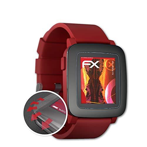 atFoliX Schutzfolie passend für Pebble Time Folie, entspiegelnde & Flexible FX Bildschirmschutzfolie (3X)