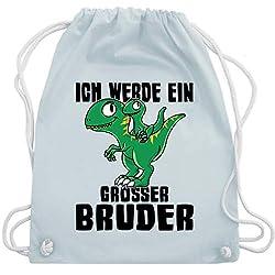 Shirtracer Geschwister Bruder - Ich werde ein großer Bruder mit Dinos - Unisize - Pastell Blau - WM110 - Turnbeutel und Stoffbeutel aus Bio-Baumwolle