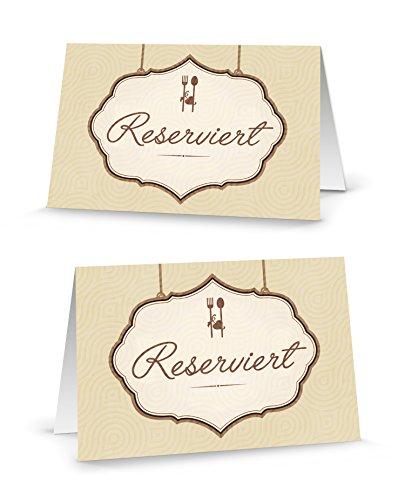 50 Stück rustikale beige-braun creme-farbene Messer + Gabel RESERVIERT-SCHILDER Tisch-Austeller Klapp-Karten kleine Kärtchen für die TISCH-Reservierung - FÜR JEDEN STIFT! Reserviert-Aufsteller