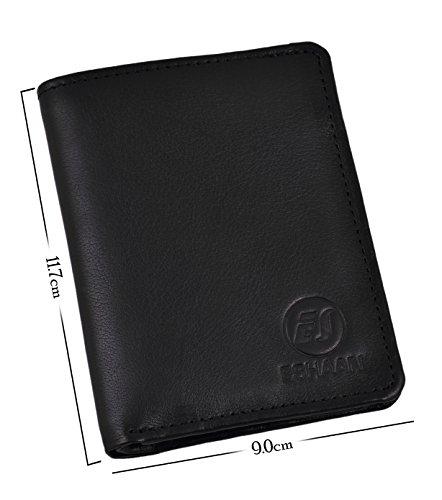 ES Trader Mens Luxus echt Original Leder weichen Qualität Brieftasche Bifold Münze Tasche, AA0017, 12 cm, braun schwarz