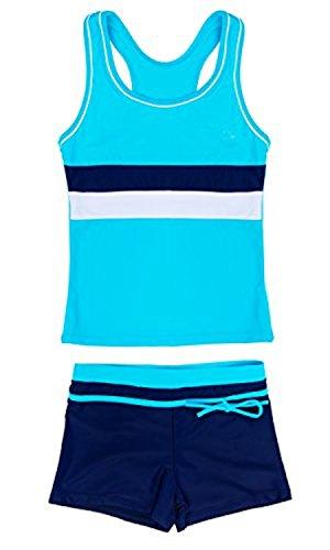 SWISSWELL Mädchen Bikini Bademode 2-teilig Sport UV-Schutz Badeset Badeanzug Set 3 Stripes Badeshirt und Badeshorts für 4-5 Jahren Blau