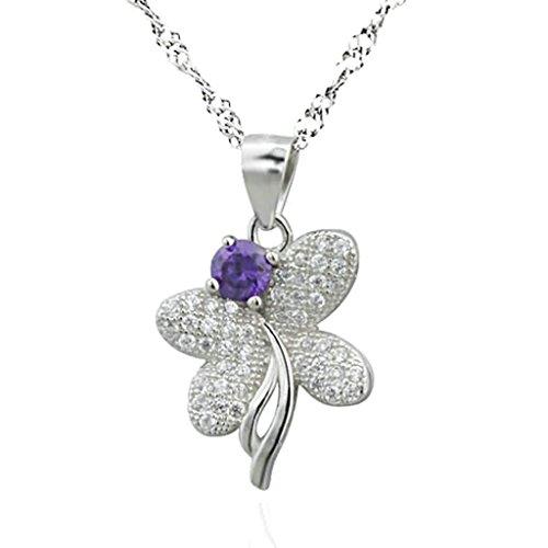Bishiling Schmuck 925 Sterling Silber Kette Anhänger Damen Kristall Schmetterling Weiß Halskette
