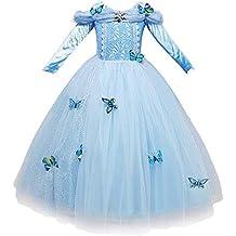 NNDOLL Cenerentola Vestito Costumi Carnevale Bambina Bimba Principessa Azzurro  Abito 870 (110 (2- 016915b8da9
