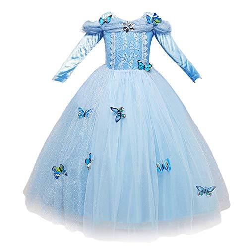 NNDOLL Details über Cinderella Kleid Kostüme Karneval Mädchen Mädchen Prinzessin hellblaues Kleid ()