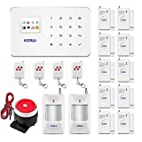 KERUI G18 GSM Auto Dial & SMS Wireless Home Office Business Security Alarm System DIY kit, with Indoor Siren PIR Motion Detector Door Contact Remote Control iOS Android App-433MHz
