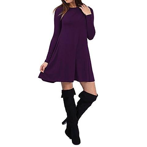 SCO New Womens Plain Swing Dress Ladies Flared Stretch Top Tunic Plus Size (18, Purple)
