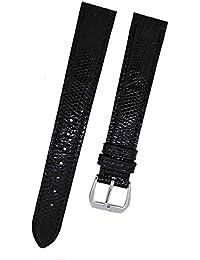 Fortis Swiss Reloj de pulsera Cuero Negro con costura Negra 16mm 8802