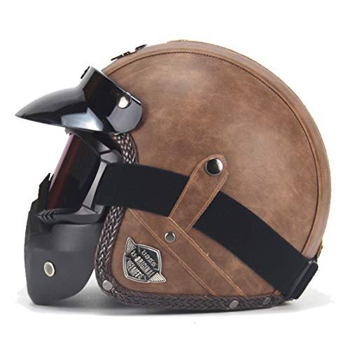 Vintage casco hand-made retro Harley casco 3/4del casco mezzo del casco per moto Harley Yamaha Honda moto/elettrico
