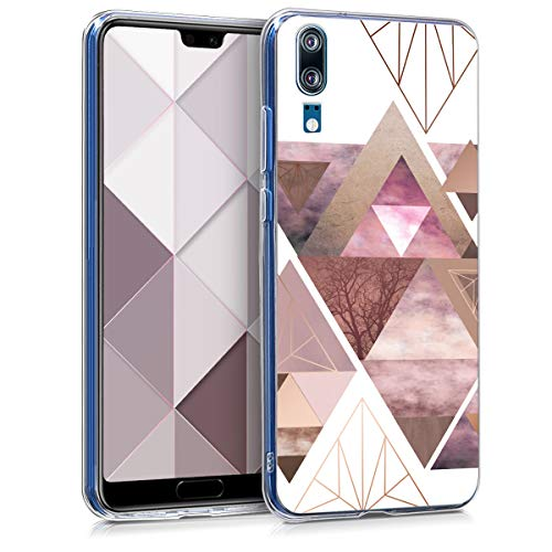 kwmobile Huawei P20 Hülle - Handyhülle für Huawei P20 - Handy Case in Glory Dreieck Muster Design Rosa Rosegold Weiß
