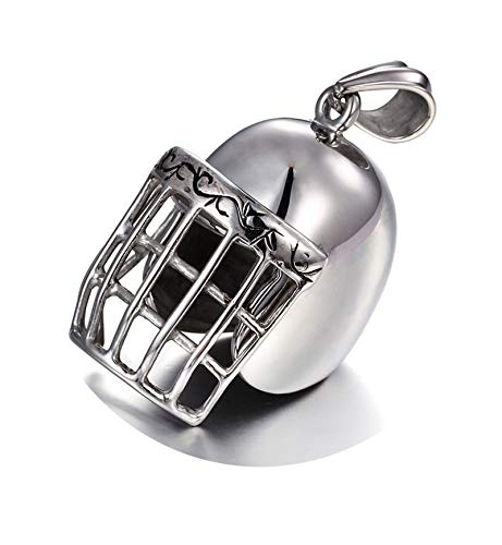Daesar Mens Necklace Stainless Steel Necklace Pendant Baseball Helmet Shape Necklace Chain Silver