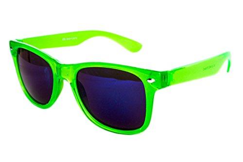 Ciffre Nerdbrille Sonnenbrille Nerd Atzen - Neon Grün Transparent Blau Glas