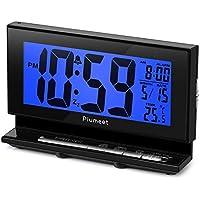 Plumeet Despertador Electrónico con Luz de Sensor, Reloj Despertador Digital LCD Grande con Visualización de Temperatura, 2 Niveles de Brillo y Función de Repetición, Alimentado por Batería (Azul)