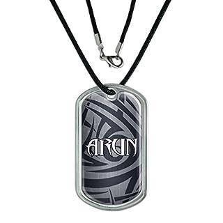 Dog Tag Pendant Necklace Cord Names Male Ar-Ay - Arun