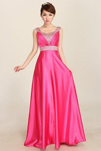 Bigood Femme Robe de Soirée Uni Peplum Moulante Swing Slimmer Pour Marriage Rose Rouge