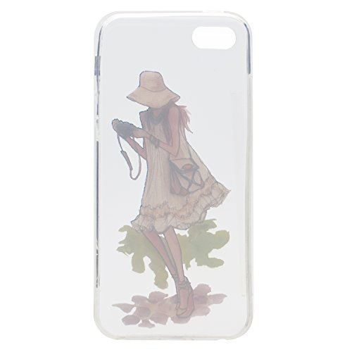 iPhone 5S / iPhone SE Hülle, Voguecase Silikon Schutzhülle / Case / Cover / Hülle / TPU Gel Skin für Apple iPhone 5 5G 5S SE(Hut Mädchen) + Gratis Universal Eingabestift Kamera Mädchen