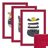 PHOTOLINI 3er Set Bilderrahmen Rot 20x30 cm Massivholz mit Acrylglasscheibe/Fotorahmen / Wechselrahmen