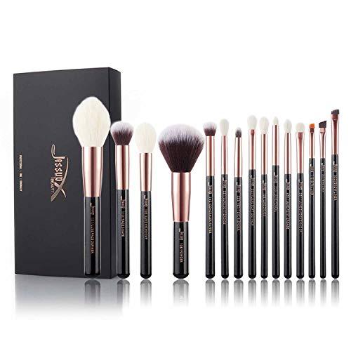 Jessup Make-up-Pinsel-Set, für Gesichtspuder, Highlight, Lidschatten, Faserhaar, Schwarz / roségoldfarben, 15-teiliges Set, T162 -