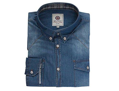 MAXFORT Men's Button Down Long sleeve Casual Shirt blue denim