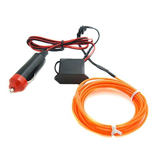 5M-Neon-LED-Licht-Glühen EL-Draht-Schnur-Streifen-Seil-Tube + 12V Energien Inverter Kit - Orange - Orange-seil-licht