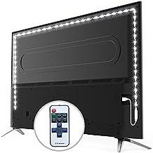 LED TV Hintergrundbeleuchtung Dimmbar mit Fernbedienung. BearMoo 2M LED Strip USB Beleuchtung für TV fernseher Desktop PC (lindern Ermüdung der Augen und erhöhen Bild Klarheit) - weiß