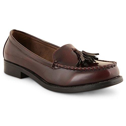 Damen Dolcis Kunstleder Flach Casual Büro Fransen Quaste Loafer Schuhe Burgundy Tassel