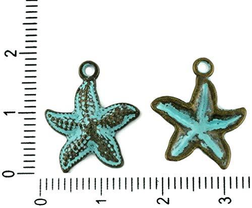 10er Tschechische Türkis-Blau Patina Antique Bronze Ton Seestern meerestier Meer Charms Anhänger Bohemian Metal Erkenntnisse 16mm x 12mm -