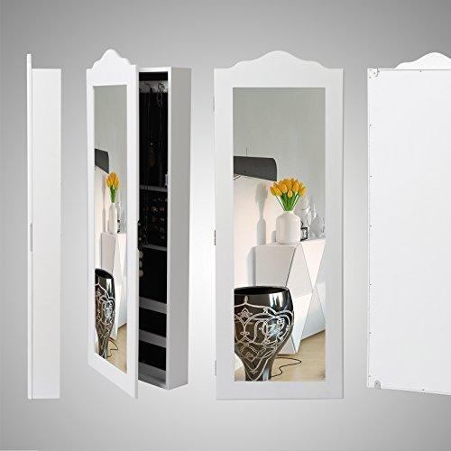 WOLTU MB0001ws Spiegel Schmuckschrank Standspiegel Wandspiegel Spiegelschrank Schmuckkasten, MDF Holz, mit Magnetverschluss, Weiß, ca. 96 x 35 x 9 cm (H x B x T) - 2