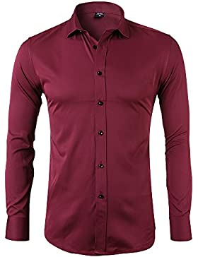 [Sponsorizzato]Camicia Elastica di Bambù Fibra per Uomo, Slim Fit, Manica Lunga Casual/Formale, 10 Colori