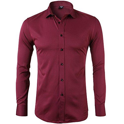 Harrms Herren Hemd Slim Fit für Business Hochzeit Freizeit Bügelleicht/Bügelfrei- Gr. EU 41/ M, Rot (3-knopf-kragen-shirt)