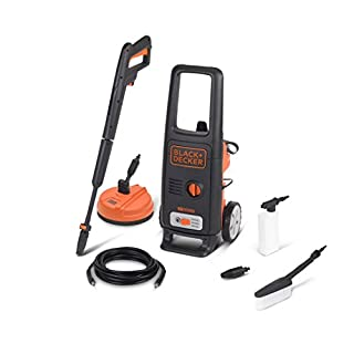 Black+Decker BXPW1600PE High Pressure Washer (1600 W, 125 bar, 420 l/h) with Patio Cleaner and Fixed Brush