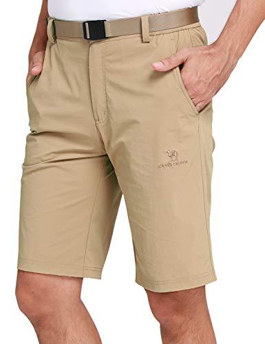 CAMEL CROWN Herren Cargo Shorts Schnell Trocknende Kurze Hose Sweatshorts Leicht Bequem Sommer Shorts mit Taschen Halb Elastische Taille Freizeithose für Männer Outdoor