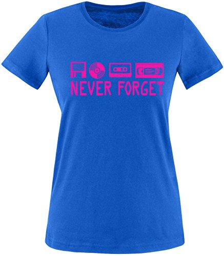 EZYshirt® Never forget Damen Rundhals T-Shirt Royal/Pink