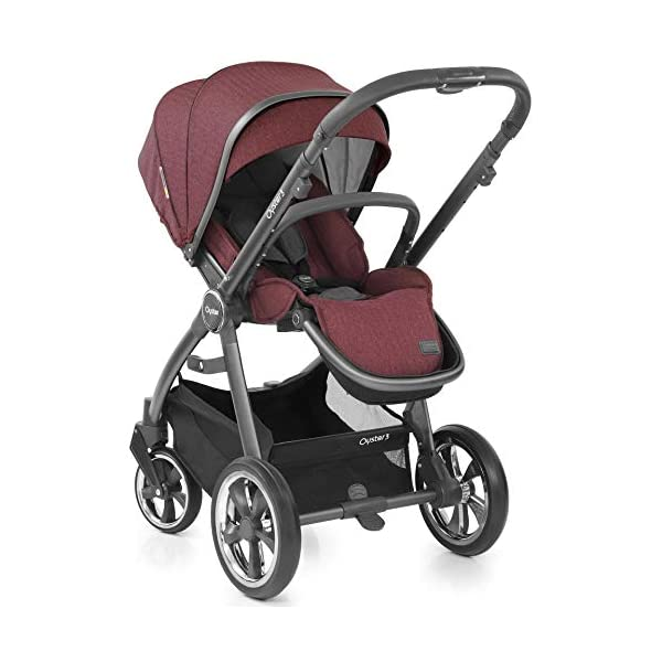Babystyle Oyster 3 Pushchair in Berry with City Grey Chassis & Raincover Babystyle Multi position, lie-flat seat unit (rear or forward facing) from birth. Lightweight chassis and telescopic handle design with 4 adjustable positions. Swivel front wheels with one click locking mechanism. 5