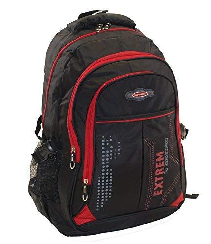 großer Herren - Rucksack Schultasche Freizeittasche Markentasche Bag Street Arbeitstasche verschiedene Farben  (Schwarz/Rot)