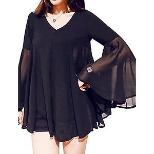 Unbekannt ZLL Damen Solide Übergröße Lässig/Alltäglich Bluse,V-Ausschnitt Sommer Langarm Schwarz Polyester Dünn