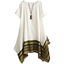 e6b322dc9eac Vogstyle Donna Estate Lino Cotone Manica Corta Maglietta Tops Shirt Vestito