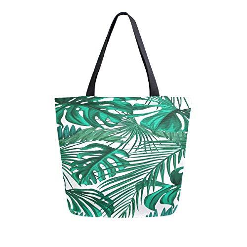 er Palm Blätter Tragbare Große Doppelseitige Lässige Canvas Tragetaschen Handtasche Schulter Wiederverwendbare Einkaufstaschen Duffel Geldbörse Frauen Männer Lebensmittelgeschäft ()