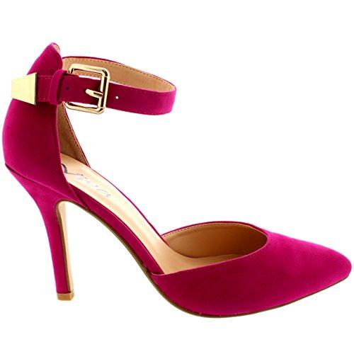 Viva Donna Caviglia Cinghia Tacco Medio Basso Lavoro Scarpe A Punta Camoscio Rosa Chiaro Camoscio