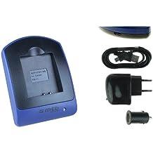 Caricabatteria (USB/Auto/Corrente) per Canon NB-11L / Ixus 125 HS, 240 HS, 265 HS.. Powershot A3500 IS, SX400 IS .. v. lista