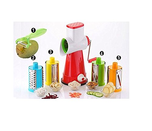 CLOUDSELL 5 In 1 Vegetable & Fruit Slicer - Salad Maker With 4 Different Attractive Drums