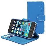 Snugg iPhone SE Case, Electric Blue Leather Flip Case [Card