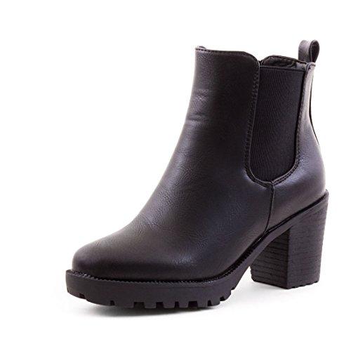 Marimo Stylische Ankle Chelsea Boots mit Blockabsatz in Hochwertiger Lederoptik Schwarz 37