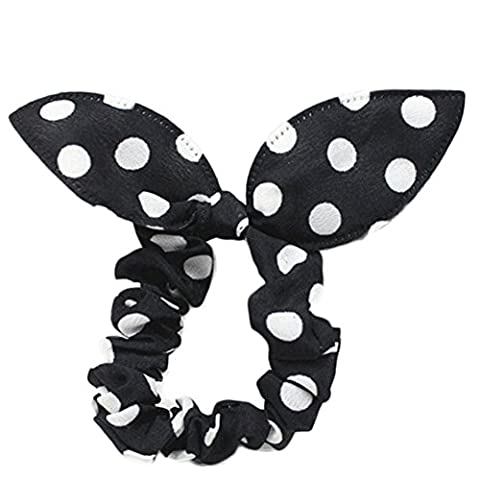 5x Da.Wa Rubber Hair Bands Stretchy Bow Tie Hair Rope Band Girls Women(Black and White Dot)