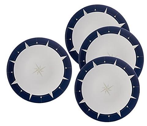Bleu marine et blanc avec motif boussole–Assiette–Gamme voyage–Élégant, léger et durable en mélamine pique-nique/barbecue/buffet extérieur Assiette plate–Lot de 4–26cm