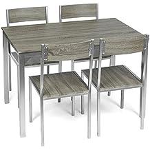 ts-ideen Comedor de 4 puestos Mesa de cocina con Marco de Metal Mesa en Fibra de Madera