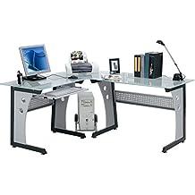 Office - Mesa de escritorio para la oficina, área de trabajo, vidrio, diseño angular