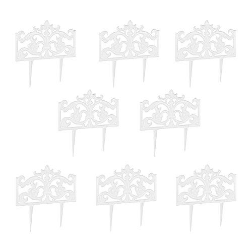 Relaxdays 8er Set Beetzaun Gusseisen, mit Erdspieß, Einfaches Stecksystem, Zierzaun, nostalgisch, H x B x T: 37 x 36 x 2 cm, Weiß